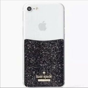 NIB KATE SPADE ♠️ GLITTER PHONE STICKER POCKET BLK